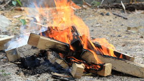 Camping fire stock video footage