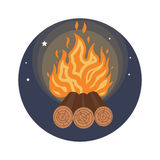Camping fire icon flat. Vector illustration Royalty Free Stock Image