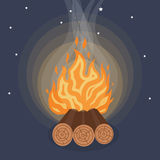 Camping fire icon flat. Vetor illustration Royalty Free Stock Image