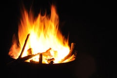 Camping fire in night Stock Photos