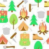 Camping pattern. Camping fire seamless pattern,  colorful background with tent Royalty Free Stock Image