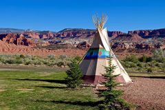 Camping at First Nation Teepee in American Wild West. Red Rocks at Capitol Reef National Park, Utah, USA Stock Images