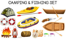 Camping and fishing equipments Stock Images