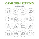 Camping and fishing icon. Coffee cup, hamburger. Camping and fishing icons. Tourist tent, fire and match symbols. Coffee cup and hamburger. Car and house. Fish Royalty Free Stock Image