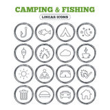 Camping and fishing icon. Coffee cup, hamburger. Camping and fishing icons. Tourist tent, fire and match symbols. Coffee cup and hamburger. Car and house. Fish Royalty Free Stock Photography