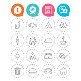 Camping and fishing icon. Coffee cup, hamburger. Camping and fishing icons. Tourist tent, fire and match symbols. Coffee cup and hamburger. Car and house. Fish Stock Photo