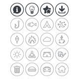 Camping and fishing icon. Coffee cup, hamburger. Information, light bulb and download signs. Camping and fishing icons. Tourist tent, fire and match symbols Stock Photo