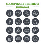 Camping and fishing linear icons set. Thin outline Royalty Free Stock Photos