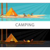 Camping. Flat banner set for your business, web sites etc.  Summer adventure Royalty Free Stock Image