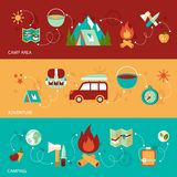 Camping flat banner Stock Photography