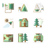 Camping flat color icons set Royalty Free Stock Photo