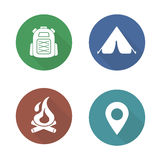 Camping flat design icons set. Boy-scout travel backpack symbol. Outdoor tourism tent symbol. Camp fireplace long shadow silhouette illustration. Gps location Royalty Free Stock Photography