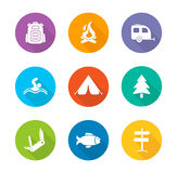 Camping flat design icons set. Traveling long shadow silhouette symbols. Wild nature campground. Tourism and travel color emblems. Trailer, tent and other camp Royalty Free Stock Photography
