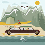 Camping flat design landscape with limousine Stock Images