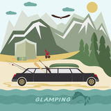 Camping flat design landscape with limousine Royalty Free Stock Photos