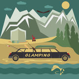 Camping flat design landscape with limousine Stock Image