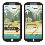 Camping flat design landscape with limousine on smartphon Royalty Free Stock Image