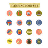 Camping flat icon set. On isolated on white Stock Photo
