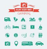 Camping Flat Icon Set. With Lable. Vector EPS 10 vector illustration