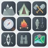 Camping Flat Icons Set. Set of Camping Flat App Icons on Light Background Royalty Free Stock Photos