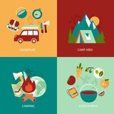 Camping flat icons set Royalty Free Stock Photography