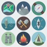 Camping Flat Icons Set. Set of Camping Flat Circle Icons on Light Background Royalty Free Stock Photos