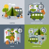 Camping Flat Icons Set Stock Images