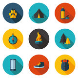 Camping flat icons in vector format. Flat camping flat icons in vector format Stock Photo