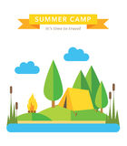 Camping flat vector background Royalty Free Stock Photography