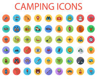Camping flat vector icon set. Camping icons set. Flat vector related icon set with long shadow for web and mobile applications. It can be used as - logo Stock Images