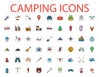 Camping flat vector icon set. Camping icons set. Flat vector related icon set for web and mobile applications. It can be used as - logo, pictogram, icon Royalty Free Stock Images
