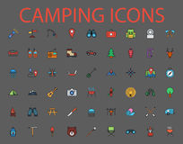 Camping flat vector icon set. Camping flat vector related icon set for web and mobile applications. It can be used as - logo, pictogram, icon, infographic Royalty Free Stock Photos