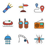 Camping flat vector icon set Royalty Free Stock Images