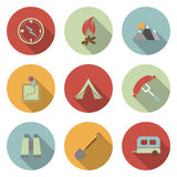 Camping flat vector icons set Royalty Free Stock Images
