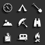 Camping flat vector icons set Royalty Free Stock Photography