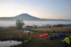 Camping with fog in morning Royalty Free Stock Photography