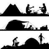 Camping foreground silhouettes. Set of eps8 editable vector silhouettes of people camping with figures and tents as separate objects royalty free illustration