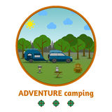 Camping forest background, with stuff and car Stock Photography