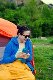 Camping in the mountains. royalty free stock images