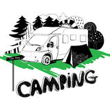 Camping in a forest. Motorhouse and tent on the. Vector illustration of camping in a forest. Motorhouse and tent on the grass Royalty Free Stock Image