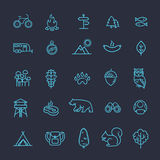 Camping, Forest, Nature and Outdoor Activities icons Stock Photos