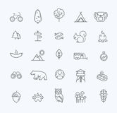 Camping, Forest, Nature and Outdoor Activities icons Royalty Free Stock Photo