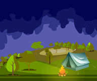 Camping in Forest at Night. Tent with a fire in the night in the forest Stock Image