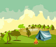 Camping in the forest. Summer camp. Camping tent. Flat style illustration Stock Photo
