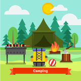 Camping in the forest with tent. Backpack, axe, barbecue grill with meat, and fireplace. Flat vector illustration Royalty Free Stock Photography