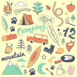 Camping Freehand Hand Drawn Doodle. Mountain Holidays with Tent, Animals and Forest. Vector illustration vector illustration