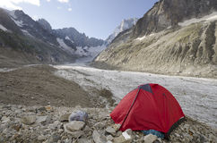 Camping in the french Alps Stock Image