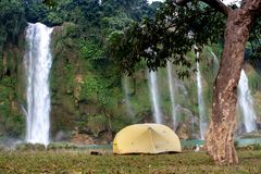 Camping in front of Ban Gioc. Royalty Free Stock Photography