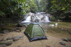 Camping in front of Lata Mecu waterfall Stock Photos
