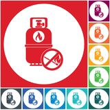 Camping gas bottle icon. Flat icon isolated. Vector illustration Royalty Free Stock Image